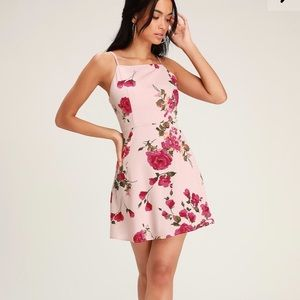 Lulu's Sweet Beginnings Pink Floral Mini Dress